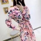Floral Print Shirt Dress With Sash