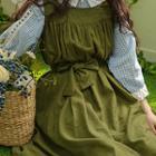 Square-neck Shirred Sleeveless Dress With Sash