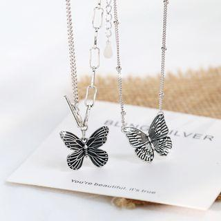 925 Sterling Silver Butterfly Pendant Layered Necklace