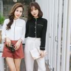 Contrast Trim Stand Collar Long-sleeve Shirt