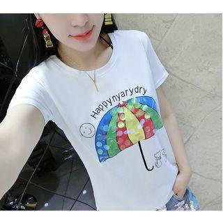 Sequined Printed Short-sleeve T-shirt