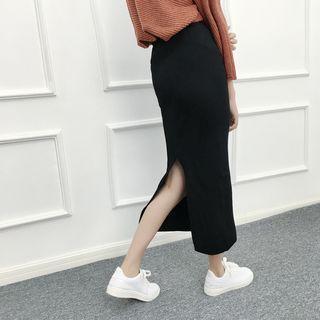 Knit Midi Skirt Gray - One Size