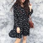 Long-sleeve Floral Printed A-line Dress