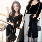3/4-sleeve Zip Pencil Dress