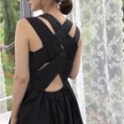 Sleeveless Crisscross Back A-line Dress