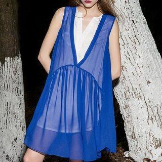 Mock Two-piece Chiffon Dress Blue - One Size
