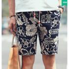 Floral Print Drawstring Shorts