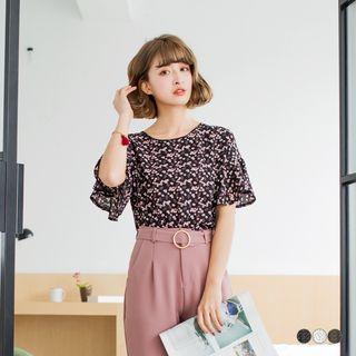 Mini Sakura Printed Bell Sleeve Top
