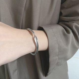 925 Sterling Silver Twisted Open Bangle 1 Pc - Brushed Bracelet - Silver - One Size