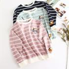 Cat Embroidered Striped Pullover