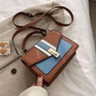 Faux Leather Paneled Flap Crossbody Bag