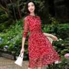 Drawstring Floral Chiffon Dress
