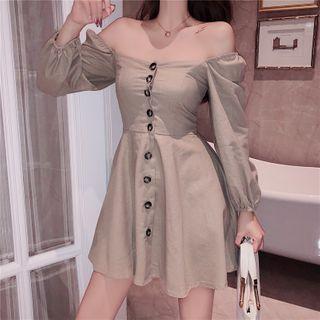Off-shoulder Button A-line Dress