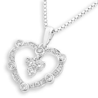 18k White Gold Vintage Style Diamond Accents Heart Dangle Pendant Necklace (0.31 Cttw) (free 925 Silver Box Chain, 16)