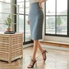 Seam-trim Midi Pencil Skirt