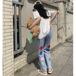 Sign Embroidered Wide Leg Jeans