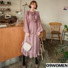 Tall Size Bishop-sleeve Frilled Chiffon Dress