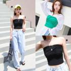 Twist-front Cropped Tube Top