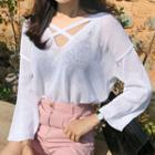 Cross-strap Long-sleeve Summer Knit Top