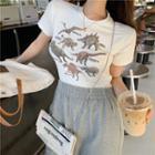 Short-sleeve Cropped Dinosaur Print T-shirt Tshirt - One Size