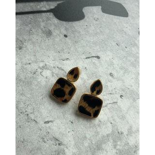 Leopard Teardrop Square Earrings Gold - One Size