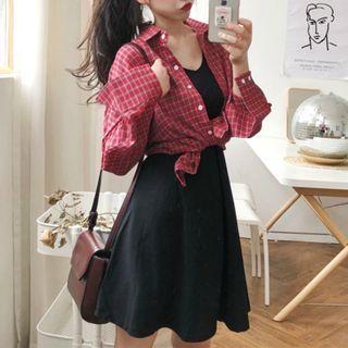 Plaid Shirt / Plain Sleeveless A-line Dress