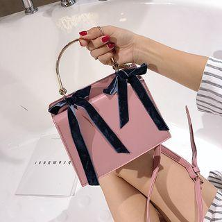 Faux Leather Bow Accent Hand Bag
