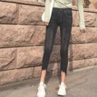 Distressed Hem Cropped Skinny Jeans