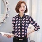Heart Print Chiffon Shirt