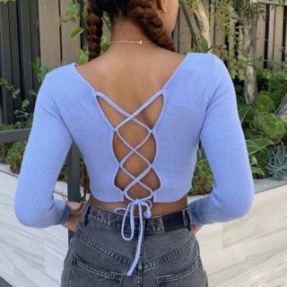 Lace Up Crop Knit Top