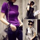 Plain Short-sleeve Knit Top