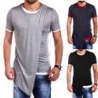 Contrast Trim Asymmetric Short-sleeve T-shirt