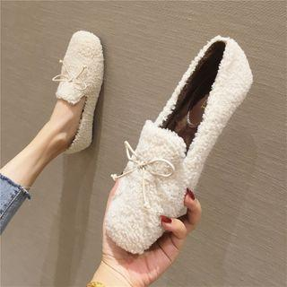 Faux Shearling Bow Detail Loafers