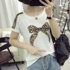 Leopard Print Bow Short-sleeve T-shirt