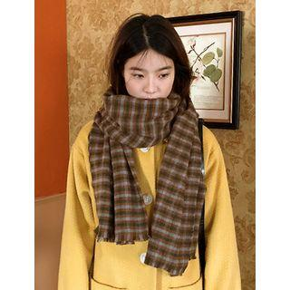 Checked Wool Blend Scarf