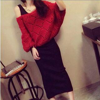 Set: Open Knit Sweater + Tank Top + Skirt
