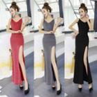 Plain Strappy Maxi Sheath Dress
