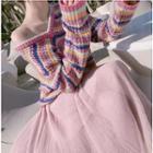 Set: Striped Sweater + Midi A-line Skirt