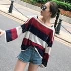 Striped Long Sleeve Sheer Top