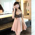 Lace Panel Strapless A-line Dress