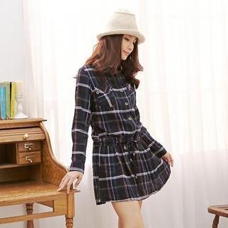 Dual-pocket Plaid Dress