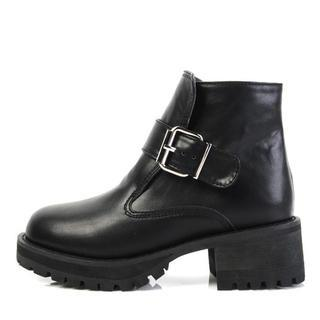 Faux-leather Buckled Ankle Boots