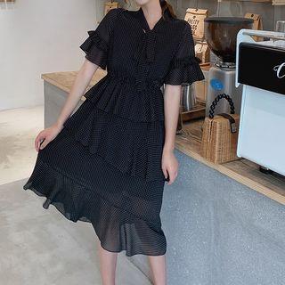 Layered Tie Neck Short-sleeve A-line Dress