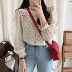 Collared Ruffled Floral Print Blouse