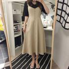 Button-front Flared Long Pinafore Dress
