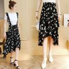 Floral Chiffon Suspender Skirt