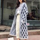 Patterned Hooded Open-front Long Knit Coat