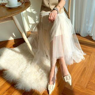 Flared Maxi Tulle Skirt Cream - One Size