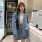 Denim Shirt Jacket / Denim A-line Mini Skirt