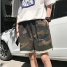 Ripped Camo Print Shorts